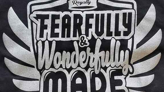 Fearfully & Wonderfully Made - (black/ silver ink) T-Shirt