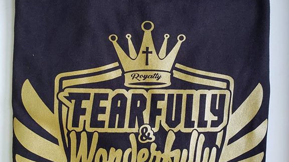 Fearfully & Wonderfully Made - (black/ gold ink) T-Shirt