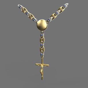 Цепь выполнена для подарка и кукрашена эмалью выполнен дизайн и моделирование изделия.