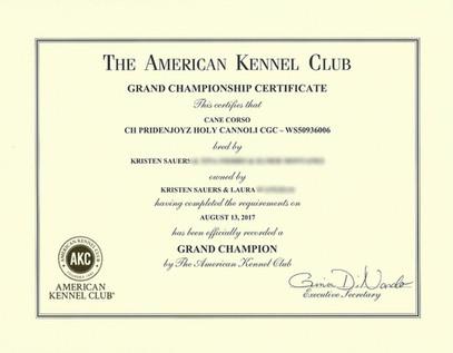 Winna's Grand Champion Certificate