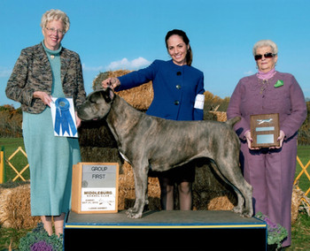 Glow winning AKC Working Group