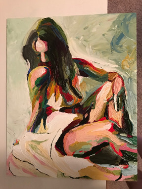 "With oil paints and a knife, I recreated Jonas Kunickas' ""Peace""."