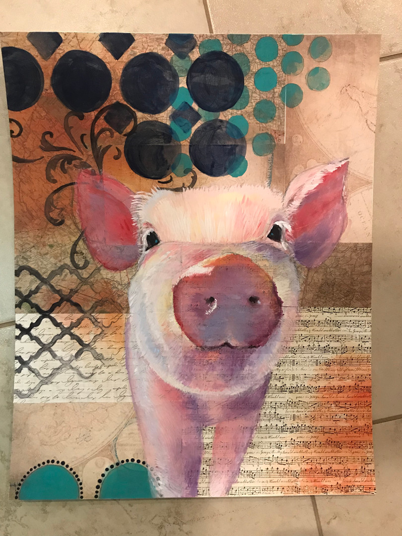 18 by 24 on Bristol board. Cut and glued pieces of scrapbook paper to the bristol board. Diluted my acrylic paint to look like water colors and painted the pig and the faded orangle colors in the corners. Used stencils to created the background shapes.  Inspired by the image in this link:  https://loveinhome.com/products/boston-warehouse-rustic-farmhouse-we-gather-together-wall-plaque?variant=20457741615168&currency=USD&utm_source=google&utm_medium=cpc&utm_campaign=google+shopping&gclid=Cj0KCQiAn8nuBRCzARIsAJcdIfNbX410FMSWtCe2dpQSE39LfogkajT8kq2KegdzPpxlyGxn5UtPqpcaAlDqEALw_wcB