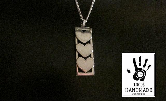 Triple Heart Design Sterling Silver 925 Charm