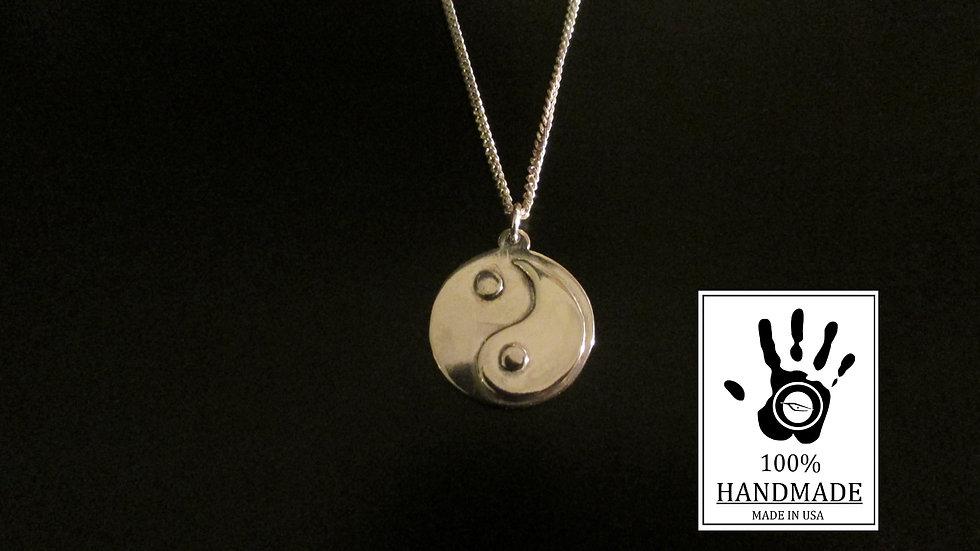 Yin Yang Pendant Necklace Sterling Silver 0.925