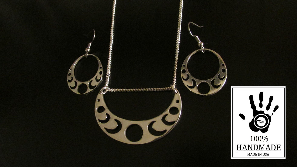 925 Sterling Silver Moon Phase pendant and matching earrings set