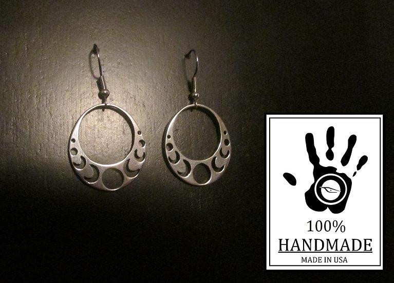 Moon Phase Earrings Sterling Silver 0.925, Moon Jewelry, Celestial Jewelry, Luna