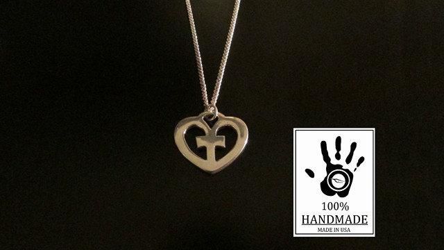 Heart Cross Sign Design Sterling Silver 925 Charm