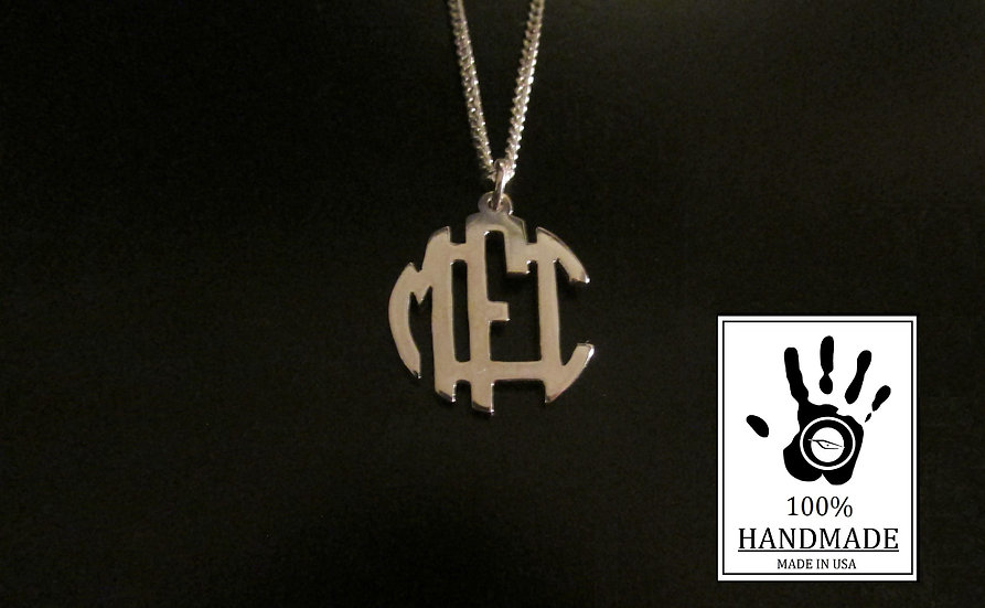 Custom Silver Mini Block Monogram Necklace