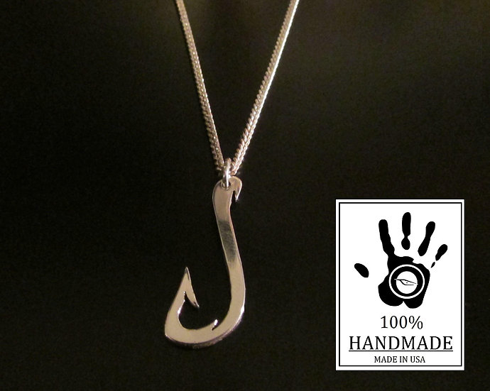 Fish Hook Necklace Pendant Sterling Silver 0.925