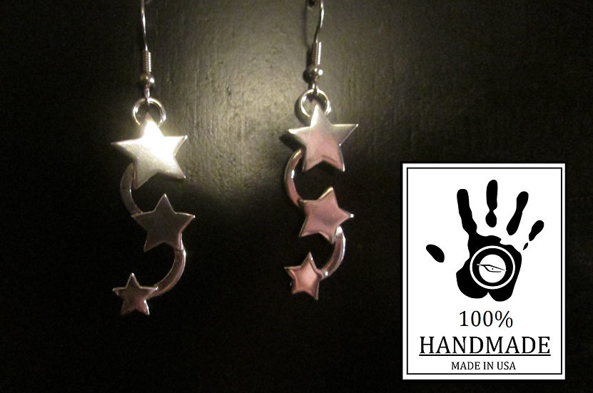 Sterling Silver TRIPLE Star Earrings 0.925