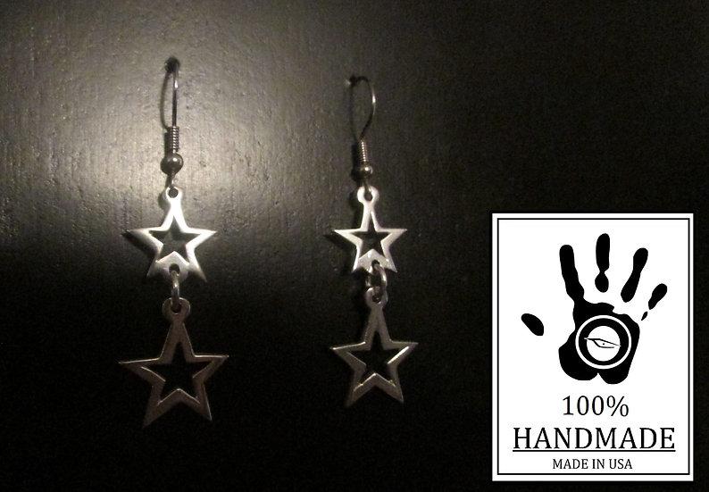 Double Open Star Link 0.925 Sterling Silver Dangle Earrings
