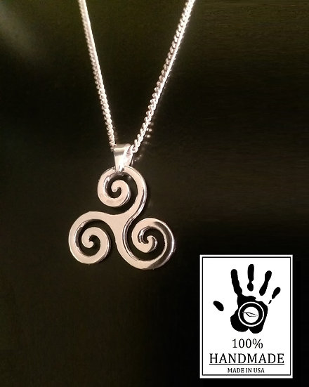 Silver Triskelion pendant, triskele necklace, sterling silver, triskelion