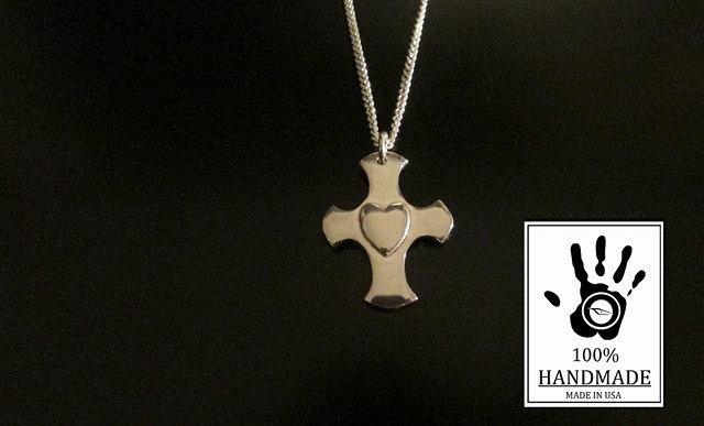 Heart Cross Design Sterling Silver 925 Charm