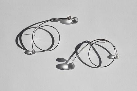 Handmade silver jewellery, silver light flow earrings, crystal jewellery