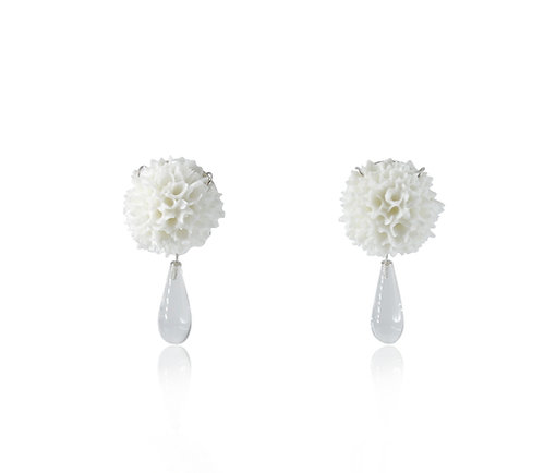 WHITE  CRYSTAL DROP EAR STUDS