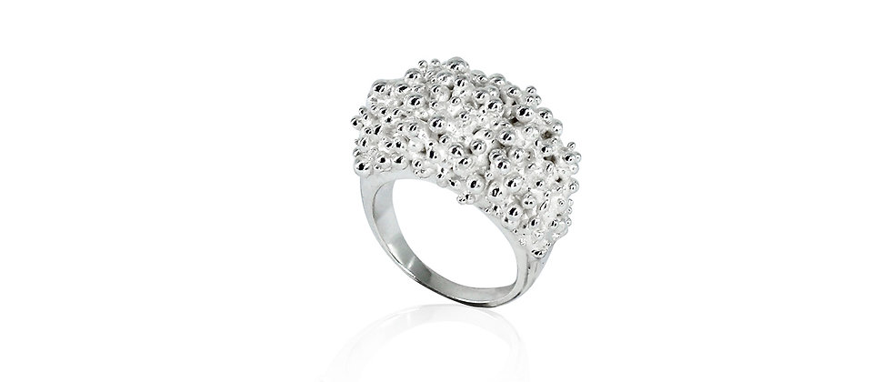 CLUSTER WIDE RING - SILVER