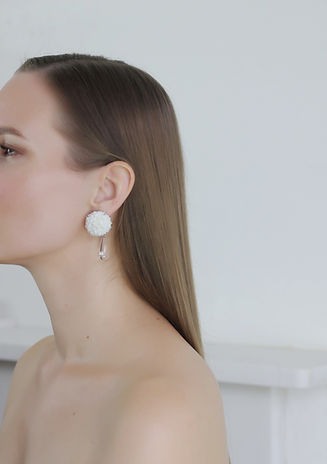 Porcelain jewellery, White ceramic earrings, silver backs with rock crystal