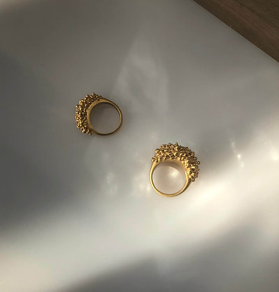 CLUSTER WIDE RING - GOLD PLATED
