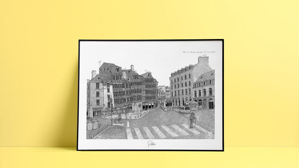 Sérigraphie Place du Champ Jacquets /Noir