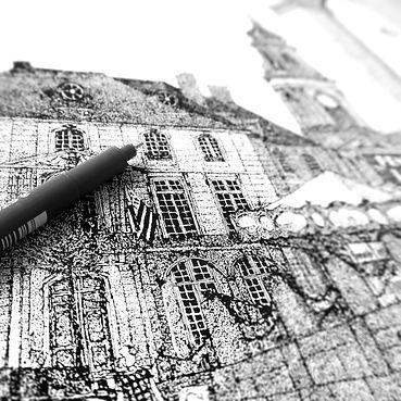 Illustration pointillisme illustration rennes place de la mairie illustratrice bretagne illustrateur dots