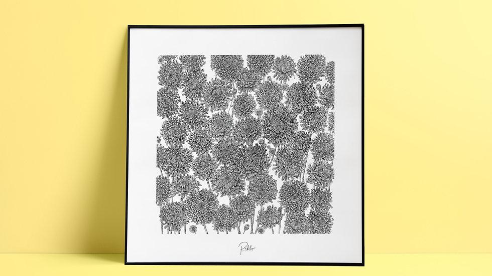Sérigraphie Chrysanthèmes/ Noir