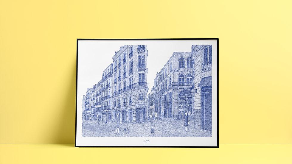 Sérigraphie Passage Pommeraye - Nantes / Bleu