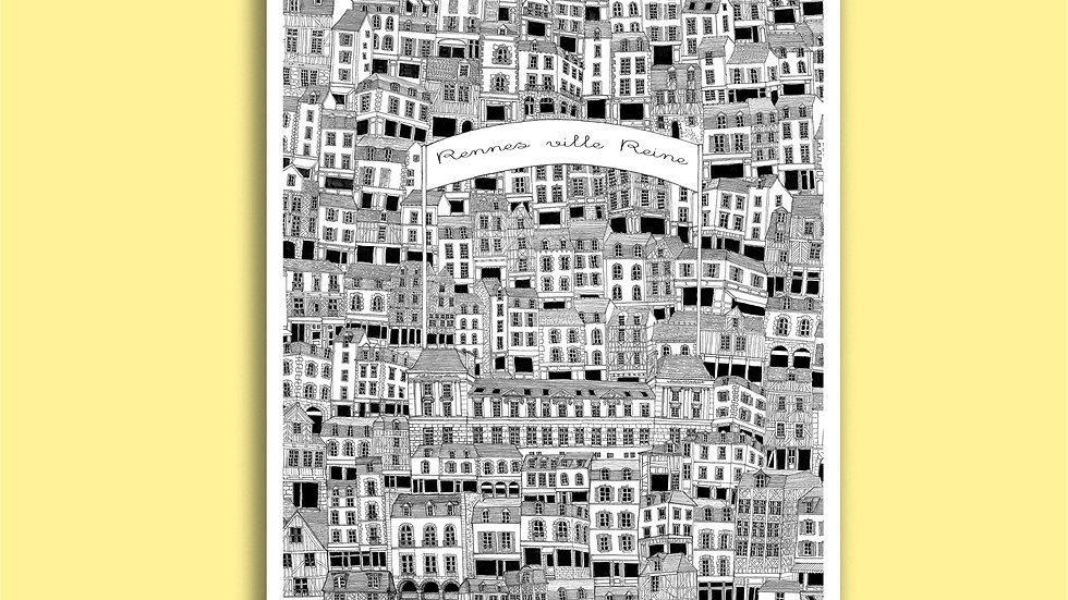Carte Postale Rennes ville Reine
