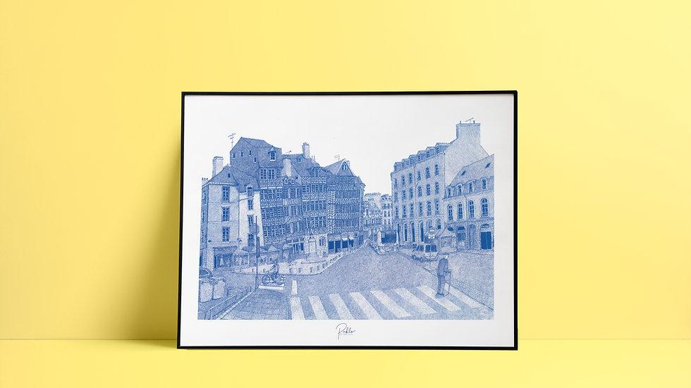 Sérigraphie Place du Champ Jacquet / Bleu