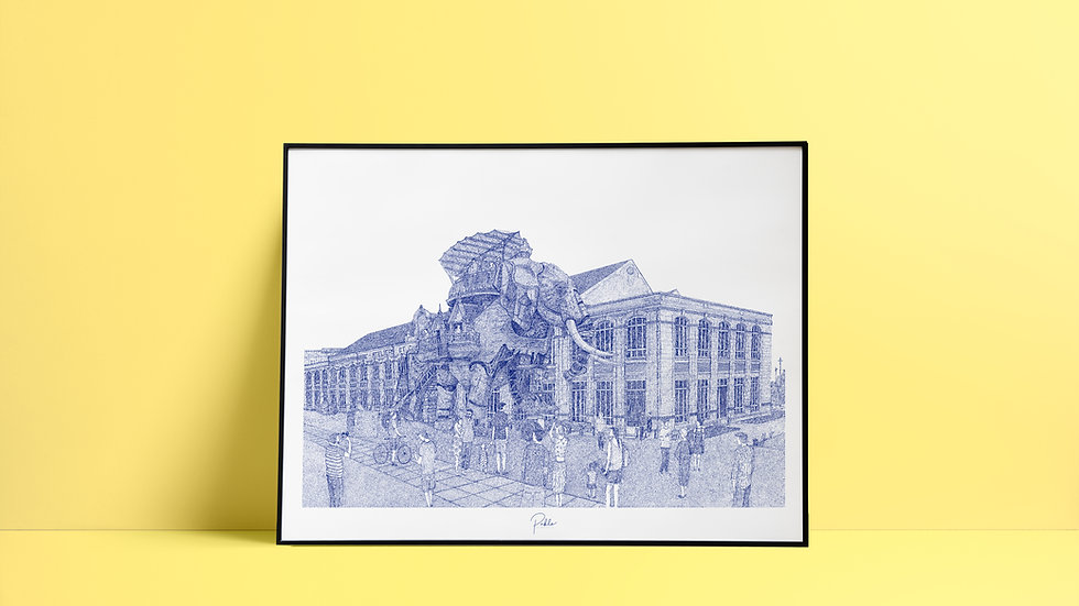 Sérigraphie Éléphant - Nantes/ Bleu