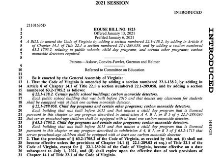Carbon Monoxide legislation in schools introduced in the Virginia 2021 Legislative Session