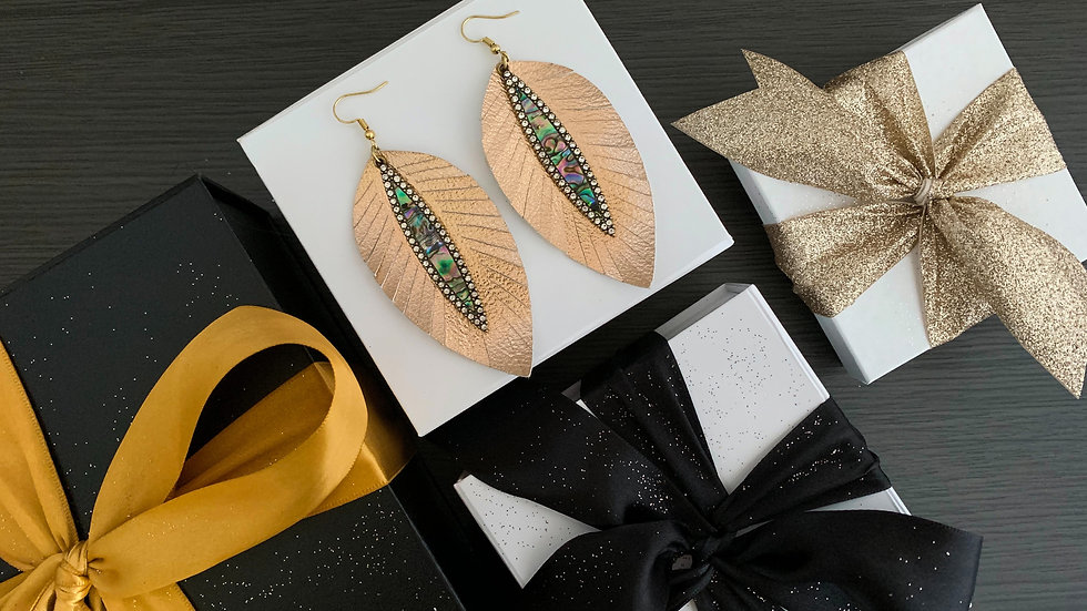 Rhinestones and Feathers | Long Earrings
