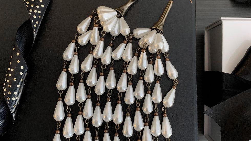 Pearl Tassel | Extra Long Earrings