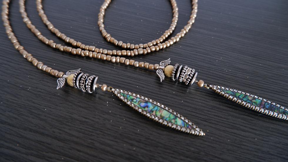 Matte Gold Lariat   Versatile Necklace