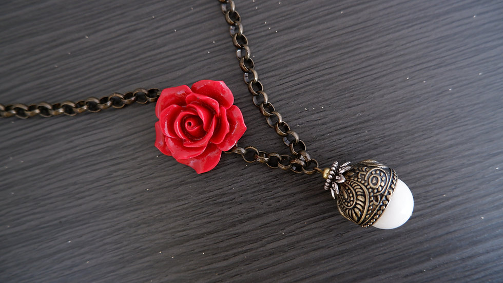 Red Rose | Antique Style Necklace