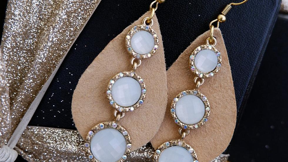 Beige Leather Drops | Opal Earrings