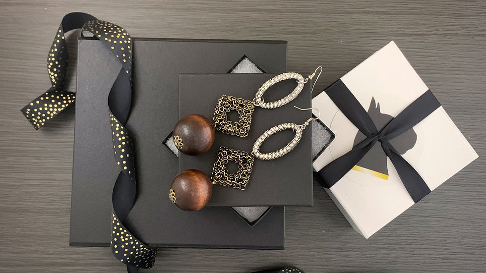 Diamonds and Wood  | Earrings