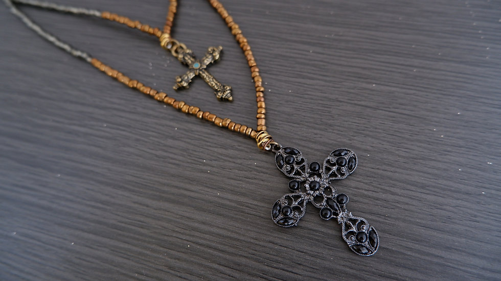 Smoke and Copper | Double Cross Necklace