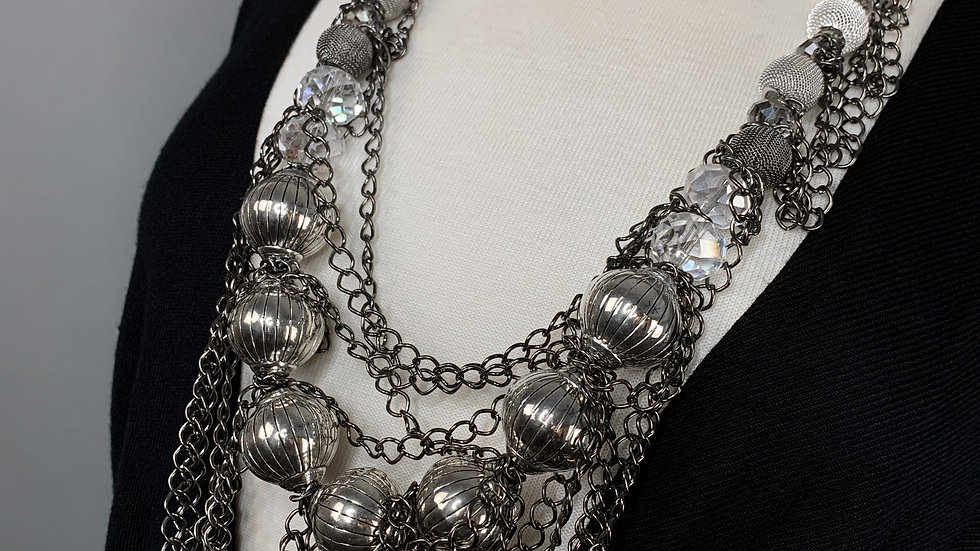 Silver Night   Long Necklace