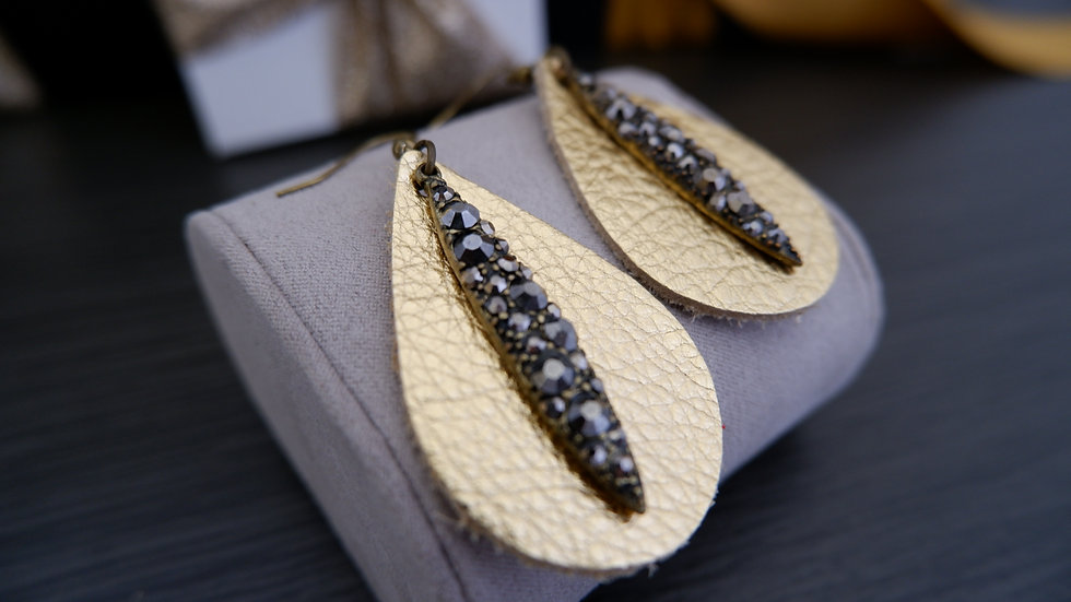 Gold Leather Drops | Earrings