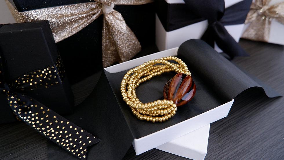 Golden Multistrand   Stretch Bracelet