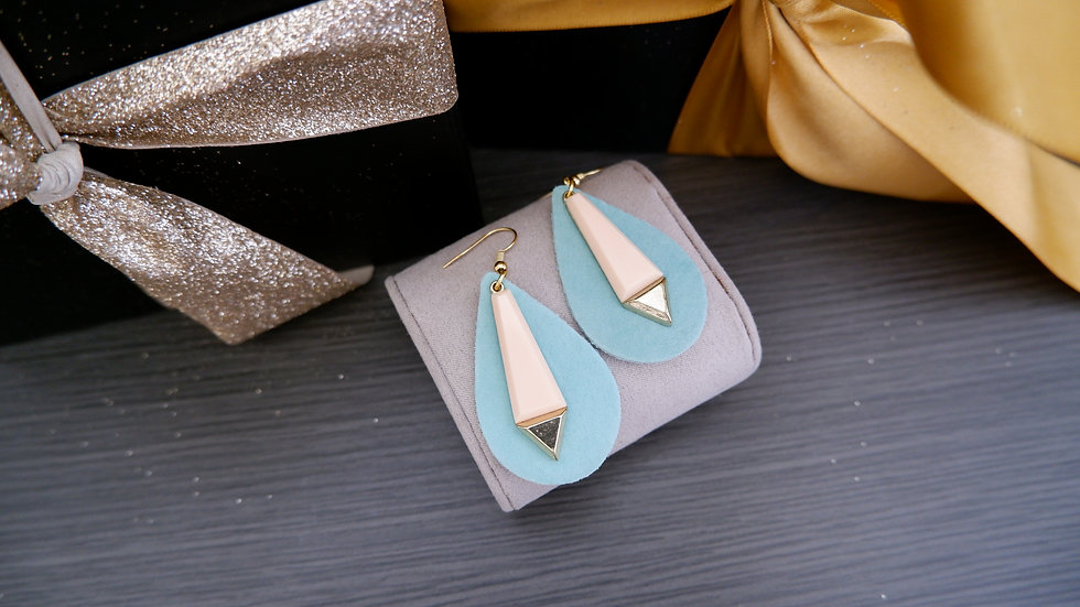 Leather Turquoise Drops | Earrings