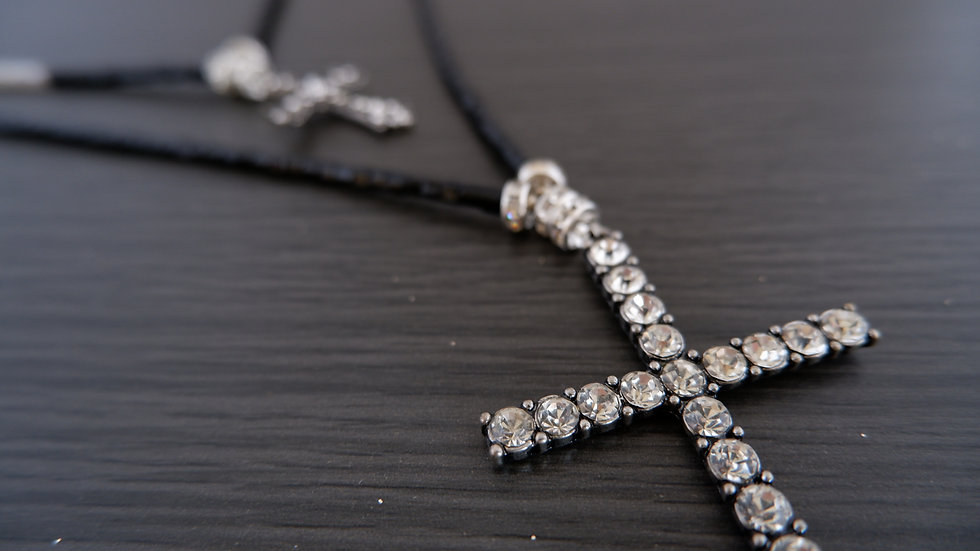 Gray and Black | Double Cross Necklace