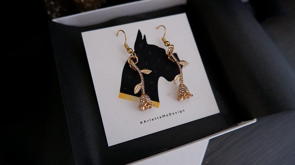 Diamond Roses | Short Earrings