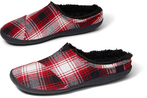 TOMS Berkely Red Plaid Mens Slippers