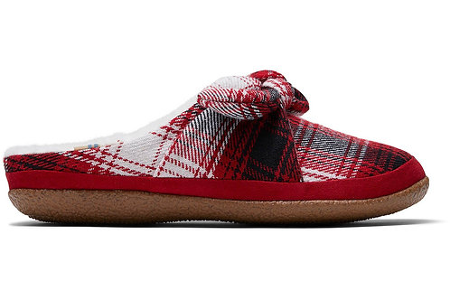 TOMS Ivy Red Plaid with Bow Ladies Slippers