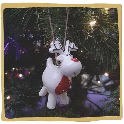 Kerstbal - Wit Rendiertje