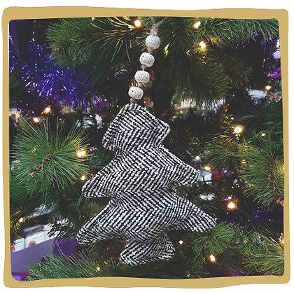 Kerstbal - Textiel Kerstboom - Zwart Wit