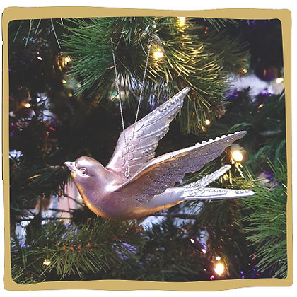 Kerstbal - Glitter Roze Vogel