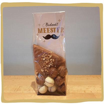 Zakje chocolade bedankt meester
